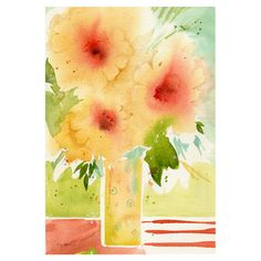 Bring gallery-worthy appeal to your walls with this artful canvas giclee print, showcasing a watercolor-inspired still life.   Prod...