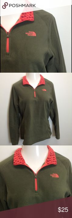 XL The North Face Quarter Zip Fleece It's never too early to plan your fall wardrobe!  Mossy green with neon orange and coral accented collar.  This is in excellent condition.  Client says she doesn't remember ever wearing it!  Super soft! The North Face Tops Sweatshirts & Hoodies