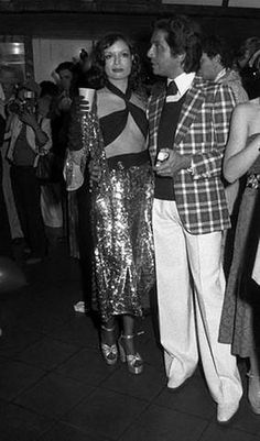 Bianca Jagger and Valentino at Helmut Berger's 30th birthday 'Bad Taste' party, 1974