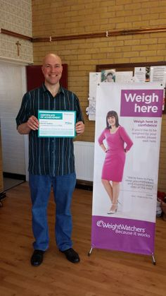 """One of our local leaders Kim sent us this photo and tells us, """"This is Darren receiving a certificate for losing 75lbs since joining the Wombourne meeting in August last year! He says being able to reward himself with his favourite 27pp chocolate bar every Friday out of he's 49 weeklies really helps him stay focused!"""" We think that proves a little of what you fancy does you good – it's all about balance!  #WeightWatchersWorks #DoingItForTheBoys Do Your Best, Stay Focused, Certificate, Friday, Success, Fancy, Bar, Chocolate, Sayings"""