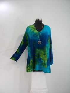 Plus size 1X-2X-3X blue and green tie dye tunic top with scoop neck and long sleeves in bamboo blend fabric. by qualicumclothworks on Etsy