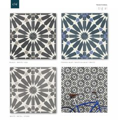 cement tile traditional - square big al | cle tile Use one of the two on the left and paint lowers in a grey to match