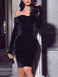 Karlofea New Spring Midi Dress Solid Black Elegant Casual Off Shoulder Velvet Dress Sexy Club Long Sleeve Bodycon Party Dress Tight Dresses, Simple Dresses, Sexy Dresses, Dress Outfits, Evening Dresses, Casual Dresses, Fashion Dresses, Women's Fashion, Winter Dresses