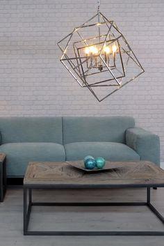 Every room needs some accent pieces! #home #ambience #inspiration #decor #idea #newlook #interiordesign #homedesign #redecorate #freshdesign #vivrehome #lightingfixtures #corpuriiluminat #lustra #ceiling light #geometric #silver #argintiu #couch #sofa #canapea #coffeetable #masutadecafea #decorations #decoratiuni #blue #albastru #accentpiece #piesacentrala Couch Sofa, Accent Pieces, Ceiling, House Design, Decorations, Interior Design, Table, Silver, Room