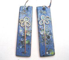 Lapis blue 'summer meadow' earrings by maggiejonesenamels on Etsy