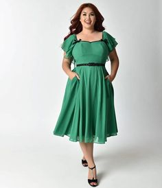 I love the color, the details, and the swishy chiffon skirt of this swing dress