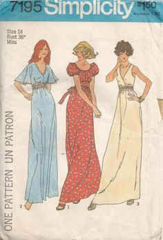 1975 Simplicity 7195 Maxi Dress Peasant Dress Size 14  Vintage Sewing Pattern