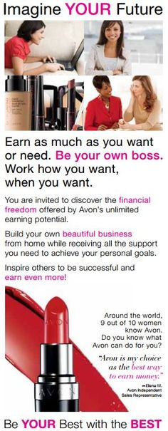 No minimum orders.  No inventory to keep.  Earn up to 50%.  Free website.  Free training.  It's only $15 to open an Avon Account! #SellAvon #homebusiness #rewarding  Click on the link below and get started now. http://krislingsch.avonrepresentative.com/opportunity/start