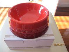 Le Creuset Stoneware MEDIUM dog bowl -Cherry Red color ~BRAND NEW #LeCreuset