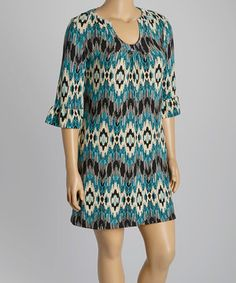 Love this Black & Teal Tribal Sweater Dress - Plus by Aryeh on #zulily! #zulilyfinds