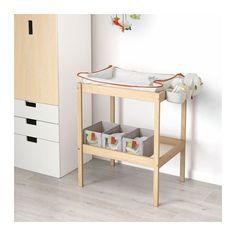 SNIGLAR Changing table, beech, white beech/white 28 3/8x20 7/8