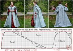 """Someone asked me recently about measurements and yardage for this coat, so I figured I'd draw up a handy little diagram. It's really not much different at all from the Alcega """"Silk gown for a..."""