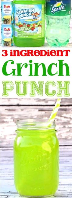 (Grinch Punch) (Posts by DIY Thrill) Party Punch Non Alcoholic Christmas! Green drinks for kids with pineapple juice and Sprite are delicious! (Grinch Punch) (Posts by Nonalcoholic Punch Recipe, Alcoholic Punch Recipes, Cocktail Recipes, Drink Recipes, Sangria Recipes, Green Punch Recipes, Punch Recipes For Kids, Drinks With Sprite, Eggnog Rezept