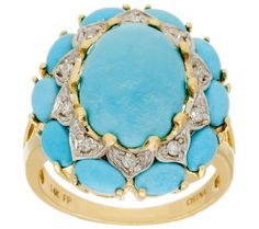 Sleeping Beauty turquoise and diamond ring...this mine is now closed so Sleeping Beauty rough material is scarce and prices are rising...it will be rare to see new jewelry pieces with large stones...this turquoise is known for its robins egg blue color with no matrix.