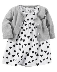 Carter's Baby Girl Bodysuit Dress & Cardigan Set ~White, Gray & Black in Clothing, Shoes & Accessories, Baby & Toddler Clothing, Girls' Clothing Baby Outfits, Baby Girl Dresses, Toddler Outfits, Baby Dress, Kids Outfits, Dress Set, Cardigan Bebe, Dress With Cardigan, Baby Cardigan
