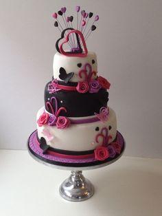 "Pink, Black and White ""Two Hearts"" wedding cake Round Wedding Cakes, Cool Wedding Cakes, Wedding Cake Designs, Wedding Stuff, Wedding Ideas, Pretty Cakes, Beautiful Cakes, Amazing Cakes, Fondant Cakes"