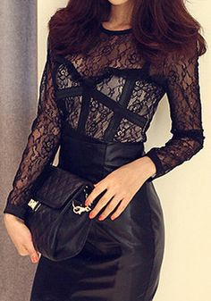 There's nothing sexier than a barely there black lace top. Channel your inner dark lady with this subtle, yet risqué, piece by pairing it with patent leather skinny pants or lighten the look with a flouncy circle skirt and bowler hat. Sexy Outfits, Cool Outfits, Vogue, Fashion Beauty, Womens Fashion, Black Lace Tops, Classy And Fabulous, Up Girl, Swagg