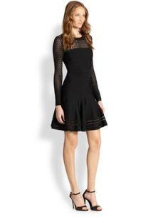 Ralph Lauren Black Label - Sheer-Top Flare Dress - Saks.com Ralph Lauren dbb100907d9e