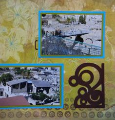 Herculaneum Travel scrapbook page with a swirl Corner from Cricut's Storybook
