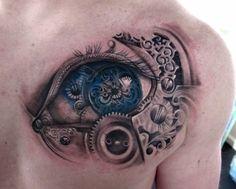 Amazing Blue Eye Steampunk Tattoo