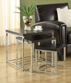 3 Piece Nesting Table by Coaster by Coaster Home Furnishings. $102.04. Style Name: CON (CONTEMPORARY). Type Of Packaging: BOX. Assembly Required: No. Finish Color: Cappuccino. Add a modern look to your living area with this three piece nesting table set with cappuccino finished table tops and chrome legs. Dimensions:Weight: 19.80 pounds Some assembly may be required. Please see product details.