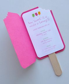"Popsicle Invitation by Crafting Girl.  If your child has a summer birthday this is a nice way to sweeten the event!  Use any summer color of cardstock and attach your invite on the inside.  To create the corner ""bite"" use a scallop paper punch.  You can find craft supplies for this project at www.cardstockshop.com."