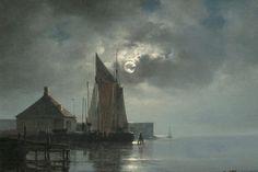 Carl Neumann A moonlit harbour Moonlight, Denmark, Norway, Scandinavian, Sunrise, Painters, Danish, Artist, Landscapes