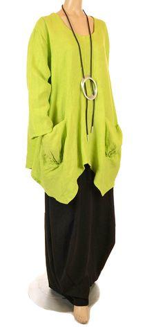 Sarah Santos Lime Linen Lagenlook Tunic   idaretobe