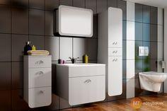 Biela zostava kúpeľňového nábytku Raila z lamina