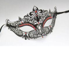 Black Venetian Laser Cut Mask with Red Rhinestones by Yacanna