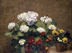 Hydrangeas, Wallflowers And Two Pots Of Pansies by Henri Fantin-Latour