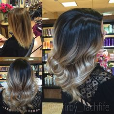 Amazing hair transformation! Before and after to a super high contrast stretched root ombre sombre look! Color created using redken chromatics and wella blondor with olaplex. Hair by Rachel fife at Sara Fraraccio salon