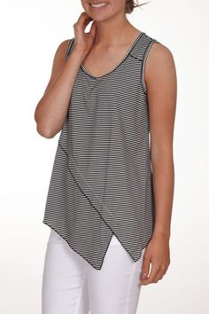 Great black and white striped sleeveless top with asymmetrical detail at the bottom. Extremely comfy and falls right at the waist. Will look great with a pair of capris or jeans. Sriped Sleeveless Tank by NYAH. Clothing - Tops - Sleeveless Iowa