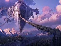 Castillo flotante amarrado con grandes cadenas