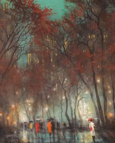 Buy Foggy Afternoon, a Acrylic on Canvas by Tom Shropshire from United States. It portrays: Cities, relevant to: umbrellas, urban landscape, city rain, city at night, foggy afternoon, city lights, fog, Tom Shropshire painting, Rainy night Foggy Afternoon It's a cold damp day in the city and the fog has blanketed the park creating low visibility and misty halos around the lights. Traffic sounds are muffled and a steady mist falls from the gray skies. People huddle under umbrellas as they take…