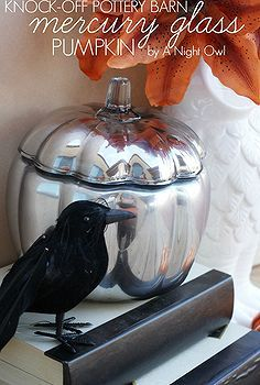 knock off pottery barn mercury glass pumpkin, crafts, halloween decorations, seasonal holiday d cor, Mercury glass is all the rage right now and I thought it would go perfectly with my Halloween and Fall decor