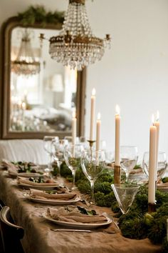 Antique mirror, chandelier, rustic table. The most beautiful table setting. #Antique #holidays #Christmas