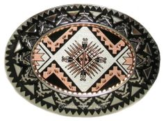 Western Belt Buckle Southwestern Design Silver Copper Handcrafted Cowboy Cowgirl
