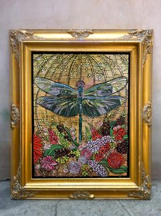 Dragonfly Original Painting Large  - Art Nouveau, Stained Glass Style - Canvas Painting Dragonfly with Flowers. $725.00, via Etsy.