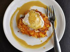 Apple & Sweet Potato Cake with Poached Egg and Sweet Mustard Sauce ... lord these look good!