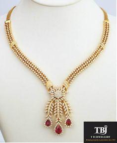 Leaf pattern Diamond Necklace with Ruby tear drop #tbjewellery #Goldenmoments #diamond #gold #girlslovediamond #jewellery #ruby #necklace