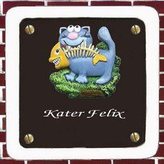 DE-788-5296 Türschild aus Keramik - Katze - braun - wetterfest Türschild-Größe: Größe 17 x 17 cm