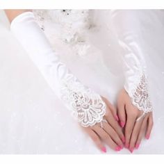 Ivory White Silk Lace Beaded Beaded Long Wedding Bridal Dress Gloves SKU-11201068