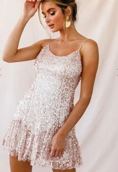 Apricot Shiny Party Boho Dress Boho Mini Dress, Pink Mini Dresses, White Mini Dress, Modest Dresses, Cute Dresses, Vintage Dresses, Beautiful Dresses, Stylewe Dresses, Bohemia Dress