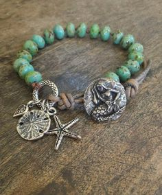 Starfish Knotted Leather Wrap Bracelet, Turquoise Beach Endless Summer $33.00