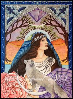 5 x 7 The High Priestess Sibylline Tarot Art by RavenandRoseArts
