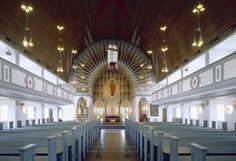 Inside of Vadsø church, built in 1954, Norway