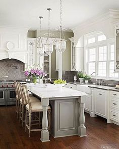 """140 Likes, 2 Comments - ROHL Luxury Faucets & Fixtures (@rohlfaucets) on Instagram: """"Fine details in the gorgeous gray and white kitchen. Polished nickel brings classic elegance to the…"""""""
