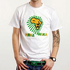 New World Cup South Africa Waka Waka Custom White T-Shirt Tee All Size XS-XXL