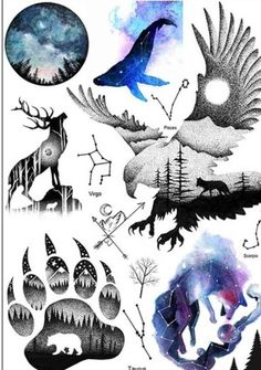 A beautiful and colorful animals like an eagle, a wolf and a bear paw print.. The measurement is 8 inches high by 6 inches wide itll be great for a large area of body such as an arm leg back or whatever to your liking. Buyer pays shipping and taxes of 8%.. lots more temporary tattoos